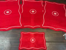 ROMANY GYPSY WASHABLE 4PCS SET NON SLIP XXLARGE MATS RED SUPER THICK 100X150CM